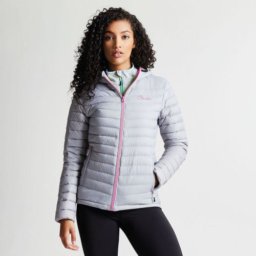 Dare2b WOMEN'S DRAWDOWN DOWN FILL INSULATED JACKET - Silver / Pink